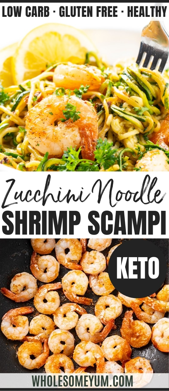 keto shrimp scampi with zucchini noodles - pinterest