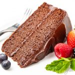 slice of chocolate keto cake with berries