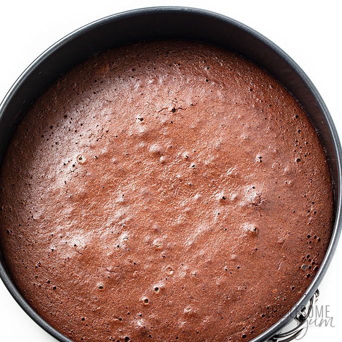 low carb chocolate cake in pan after baking