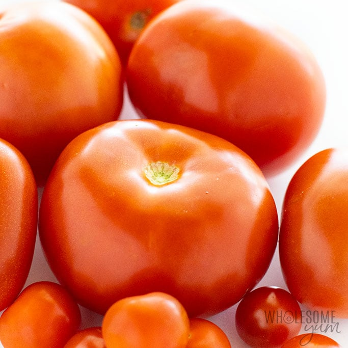 Are tomatoes keto friendly? The variety of whole tomatoes pictured here are all keto friendly.