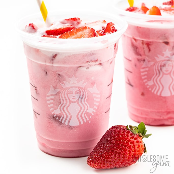 keto pink drink in cups