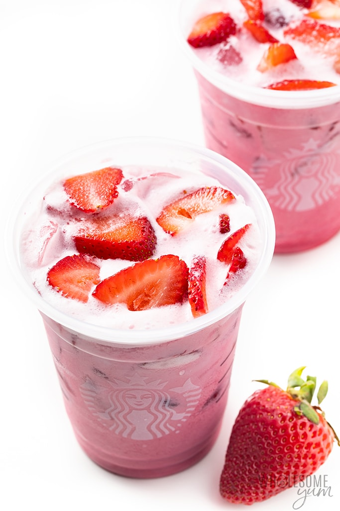 copycat Starbucks keto pink drink with strawberrries