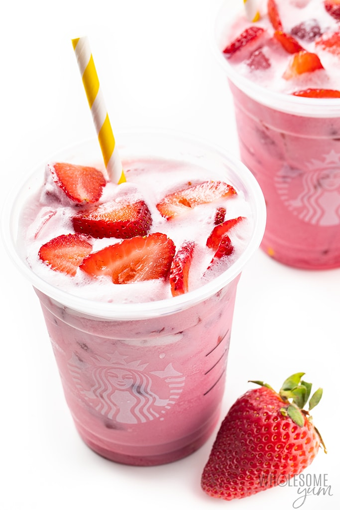pinnk drink recipe with strawberries