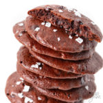 Flourless chocolate cookies recipe with fudgy inside shown