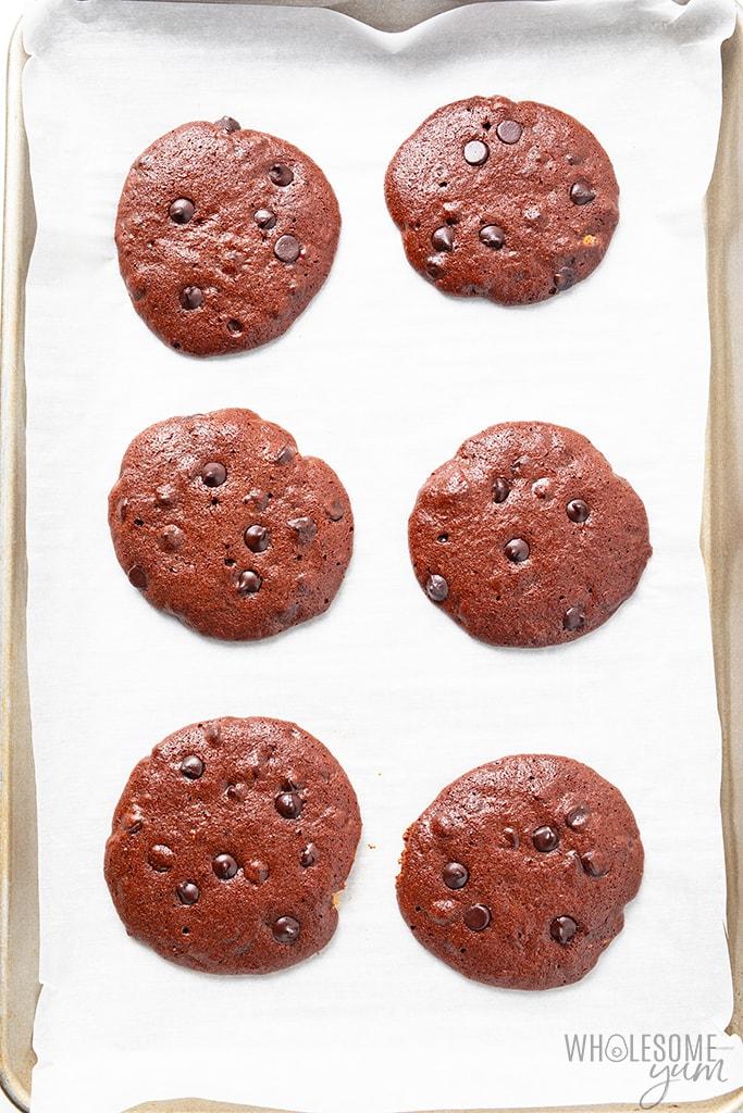 Flourless chocolate cookies after baking