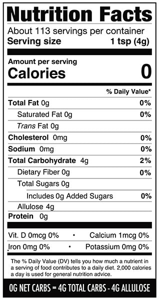 Nutrition label with allulose