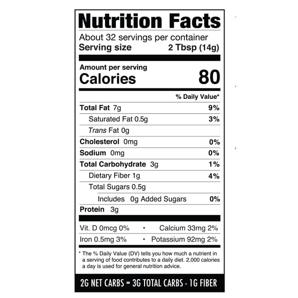 Nutrition label with fiber