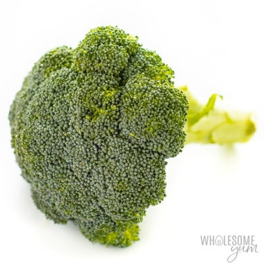 Is broccoli keto friendly? This head of broccoli is part of the article that takes a closer look at the carbs in broccoli and keto broccoli recipes.