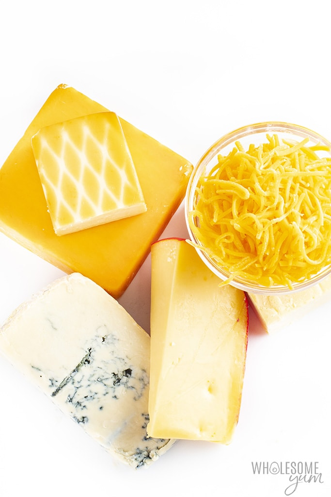 Is cheese keto? All the cheeses pictured here are keto friendly.