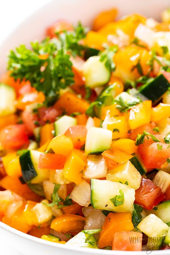 close up of Israeli salad recipe