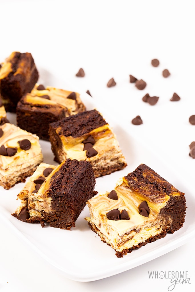 pieces of keto cheesecake brownie
