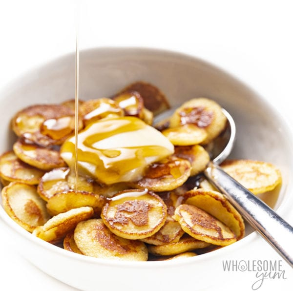 low carb pancake cereal with butter and syrup