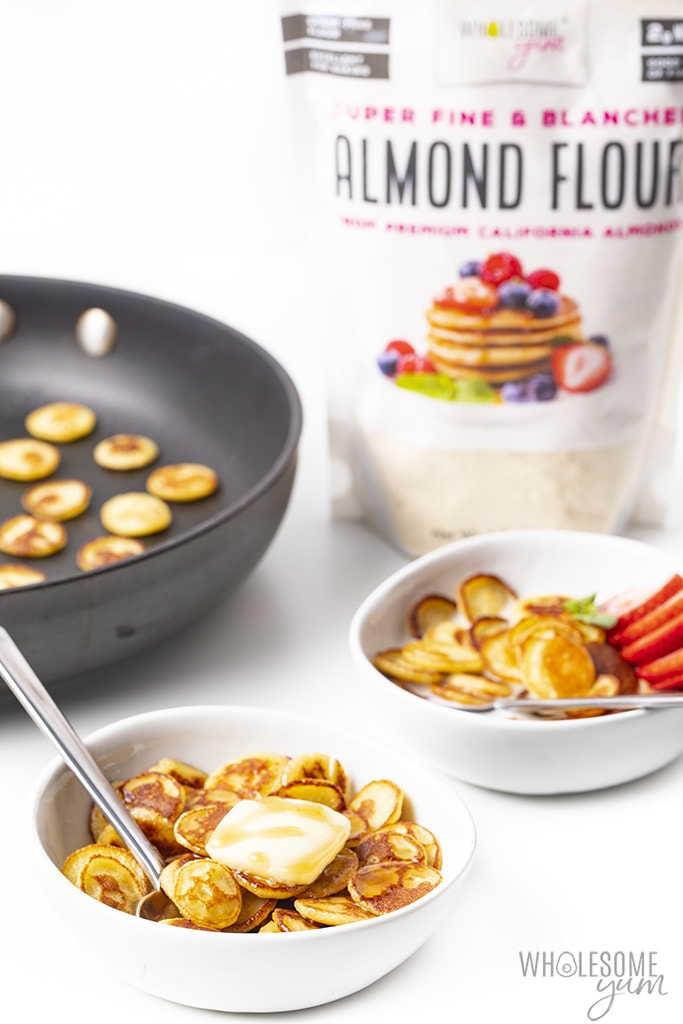 bowls of keto pancake cereal with almond flour