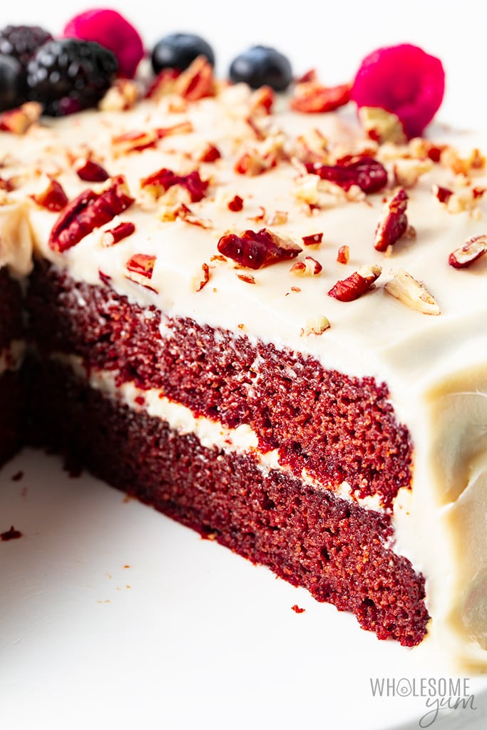 keto red velvet cake with cream cheese frosting
