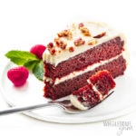 slice of keto red velvet cake