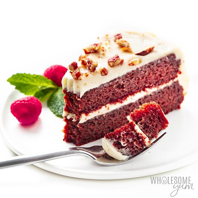 slice of keto red velvet cake