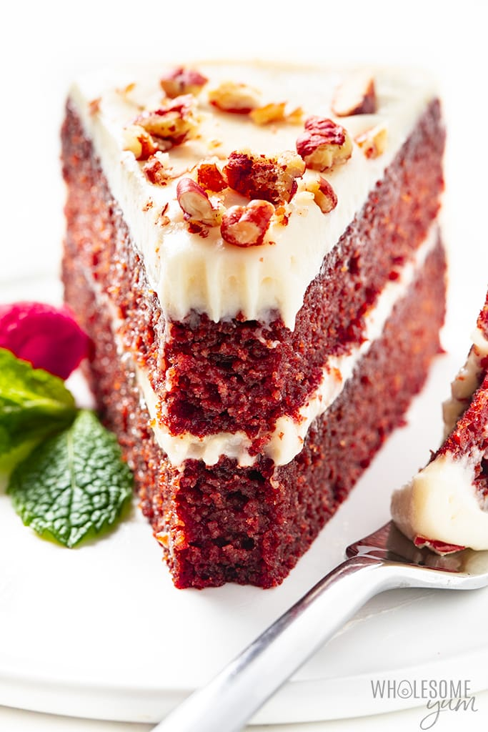 low carb red velvet cake with a bite out of it