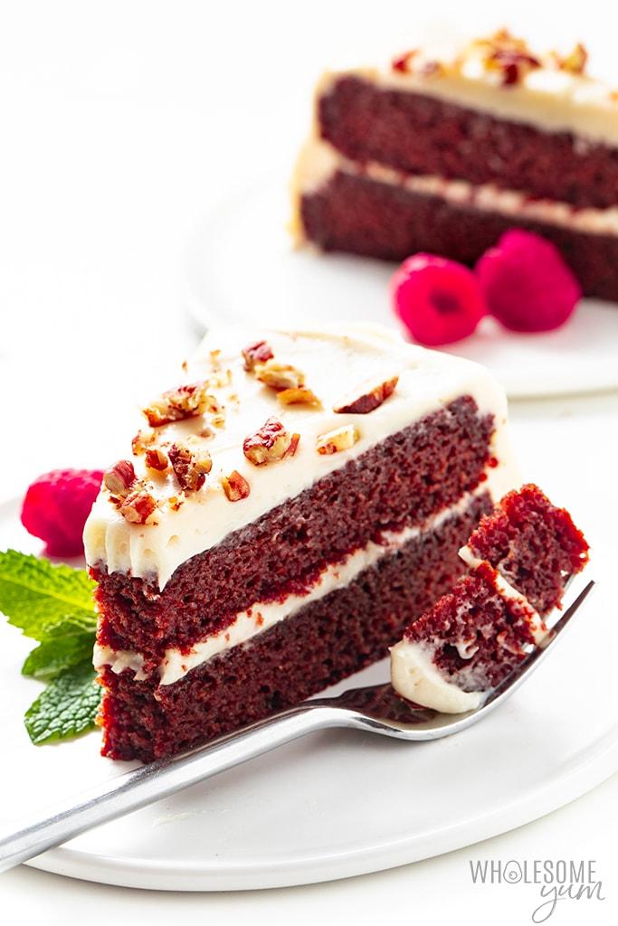 Two slices of keto red velvet cake