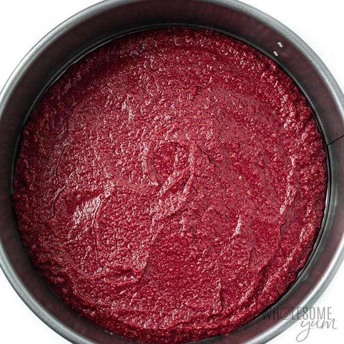 sugar free red velvet cake in pan before baking