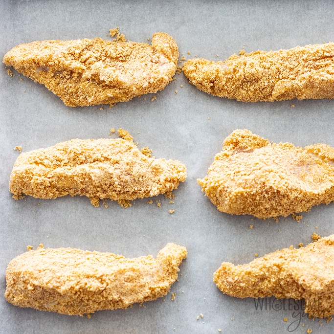 low carb chicken tenders ready to be baked