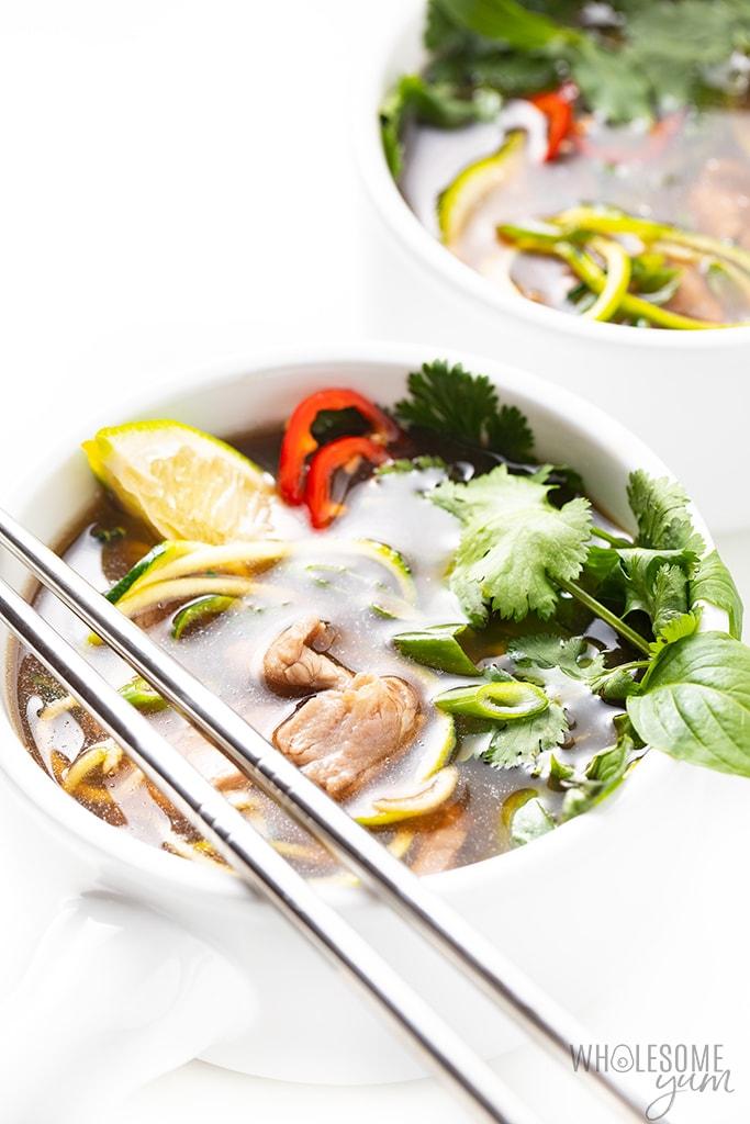 bowl of keto pho with chopsticks