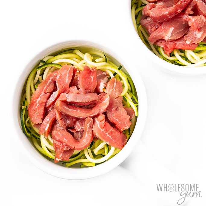 zucchini noodles and steak for keto pho recipe