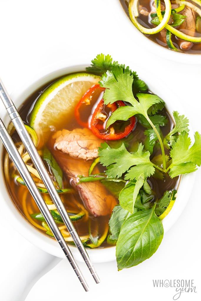 bowl of keto pho
