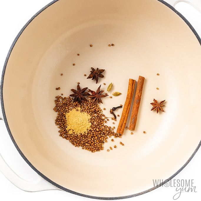spices for pho broth toasting