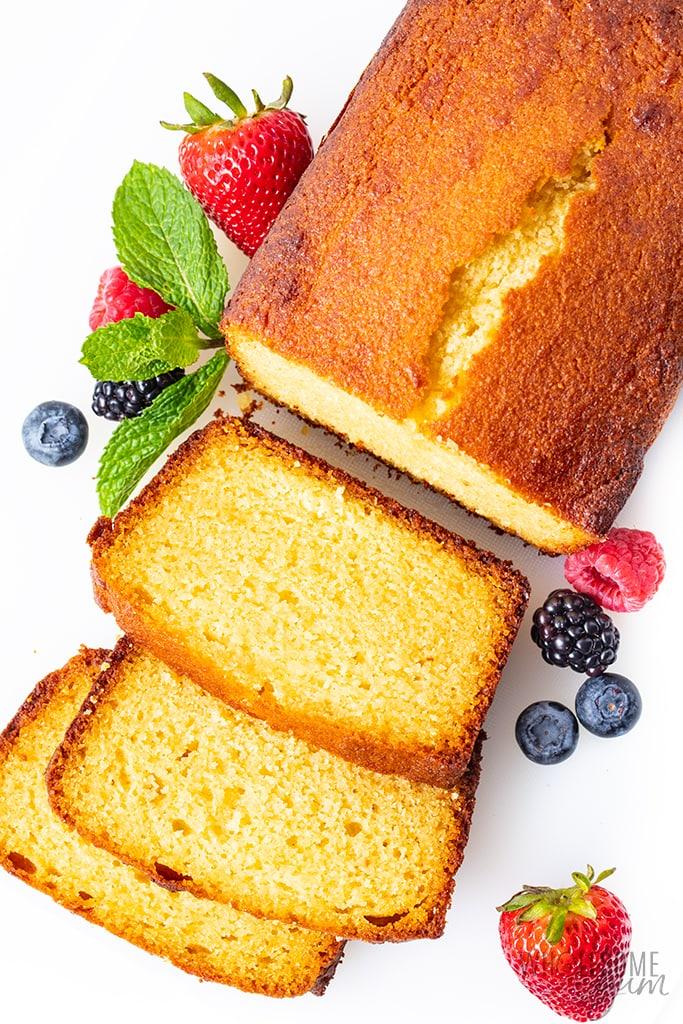 sliced low carb pound cake