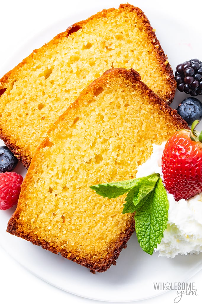 sliced keto pound cake with berries