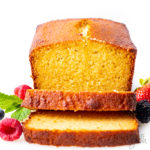 slices of almond flour pound cake in front of the loaf