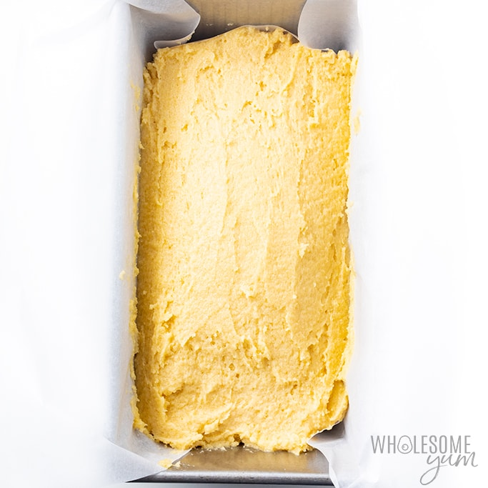 keto pound cake in loaf pan ready for oven