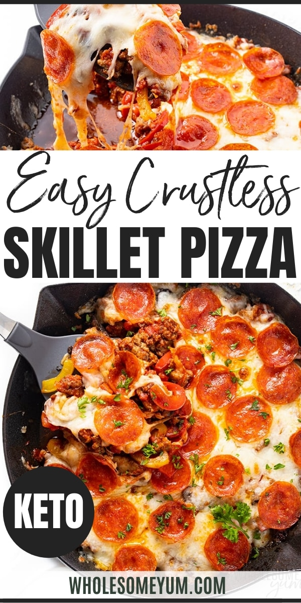 keto crustless pizza recipe - pinterest