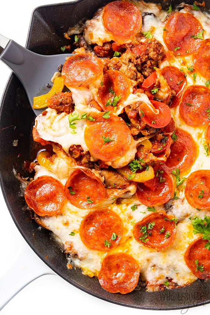 skillet with low carb crustless pizza