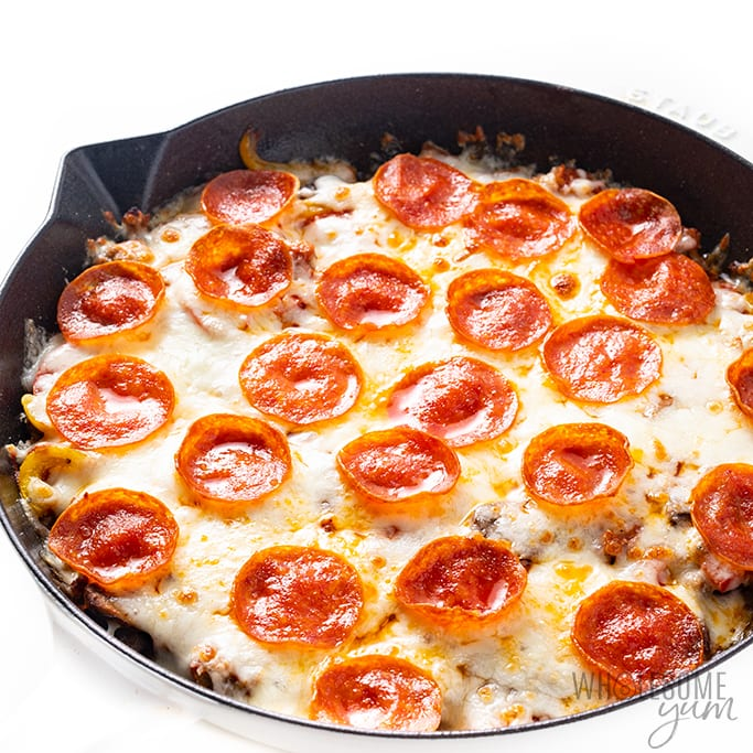 keto crustless pizza after broiling