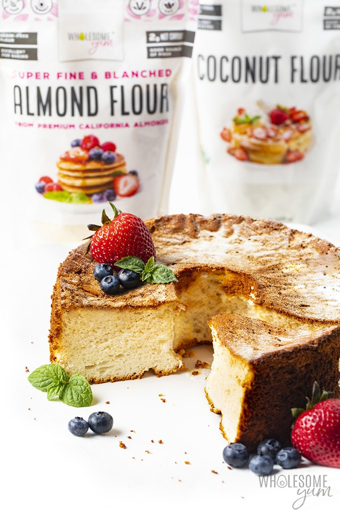 Keto angel food cake recipe with almond flour and coconut flour
