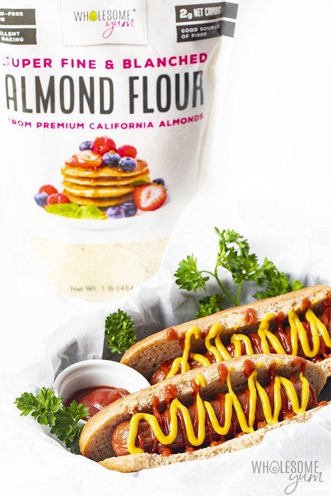 Keto hot dogs with a bag of almond flour in the background