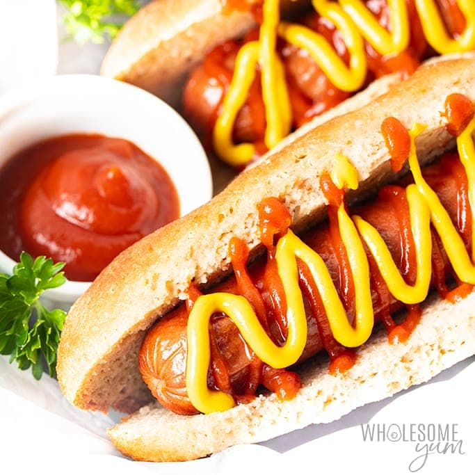 Keto hot dogs with ketchup and mustard