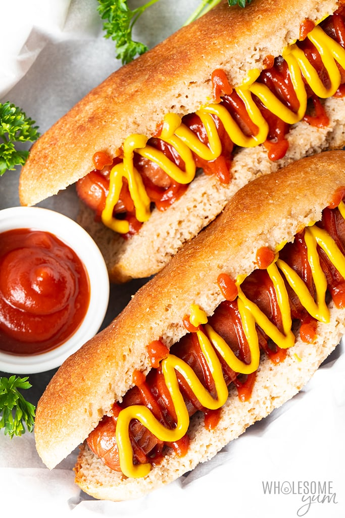 Overhead view of the final low carb hot dog buns recipe