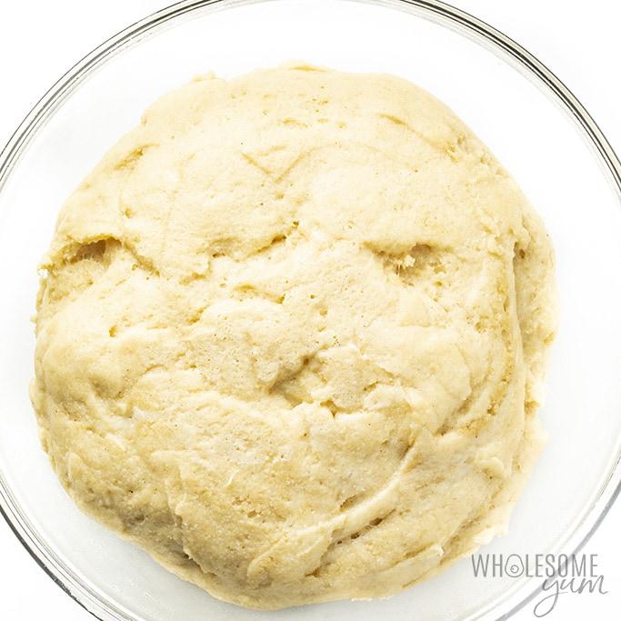 keto hot dog bun dough proofing