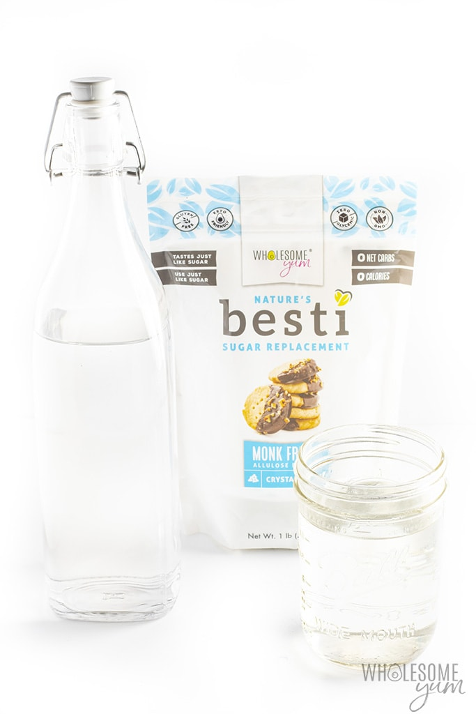 Sugar-free keto simple syrup in a jar and bottle with Besti sweetener