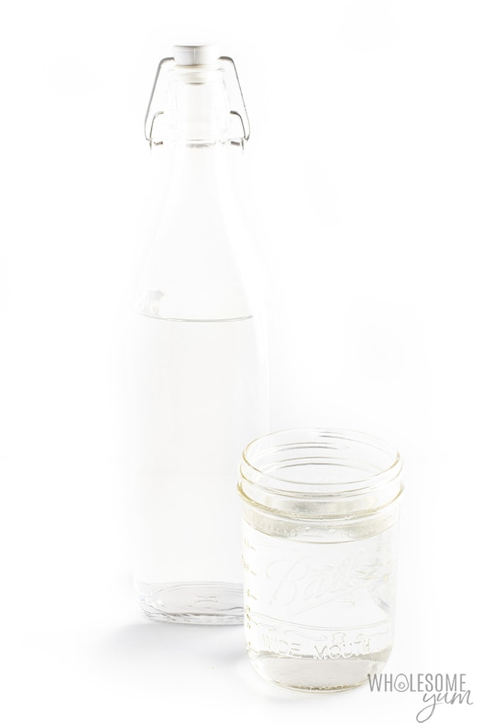 Keto friendly simple syrup in a bottle and jar