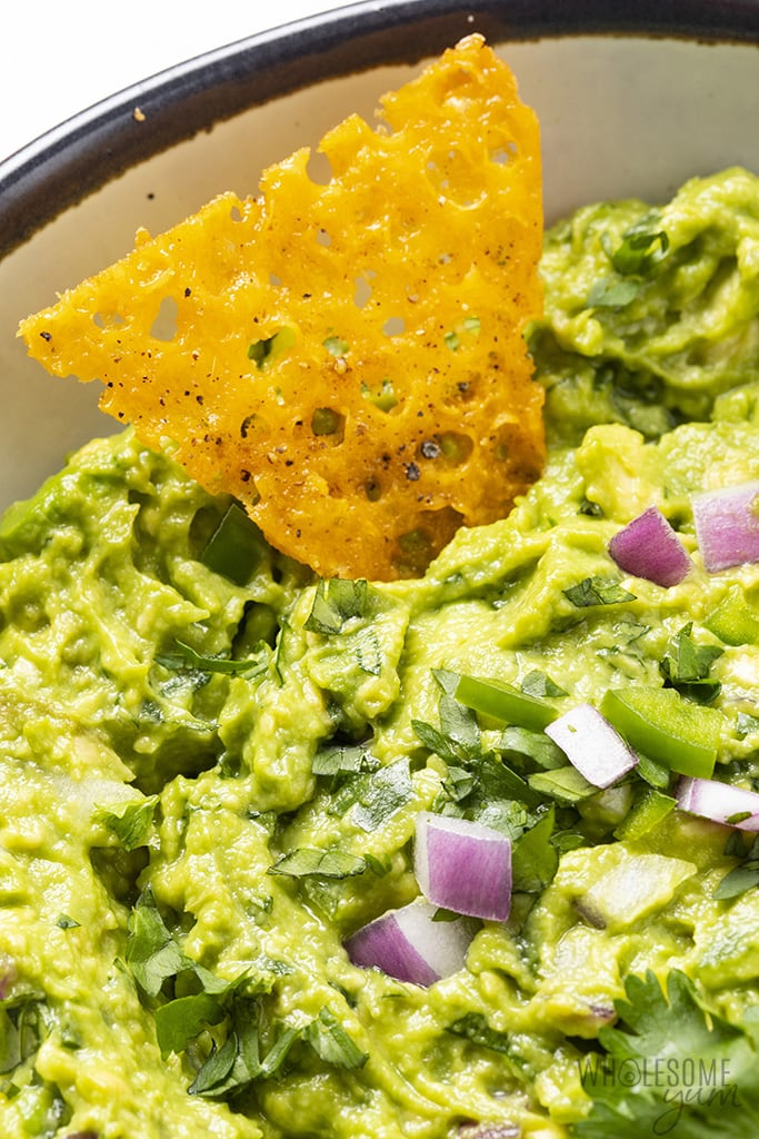 close up of guacamole
