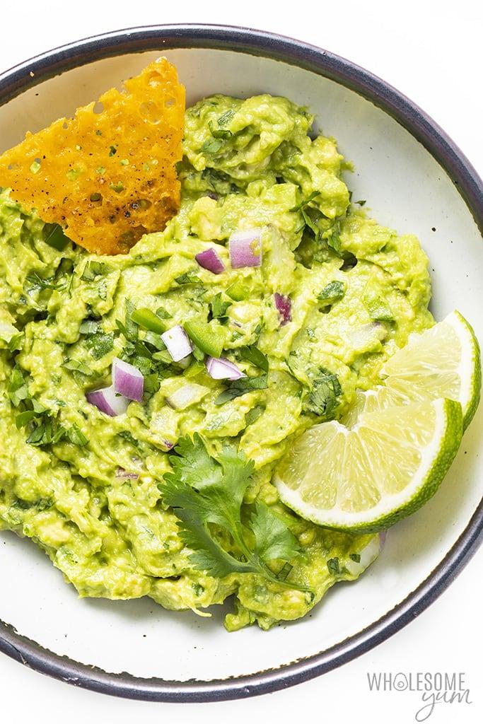 Easy goacamole recipe in a bowl - overhead photo