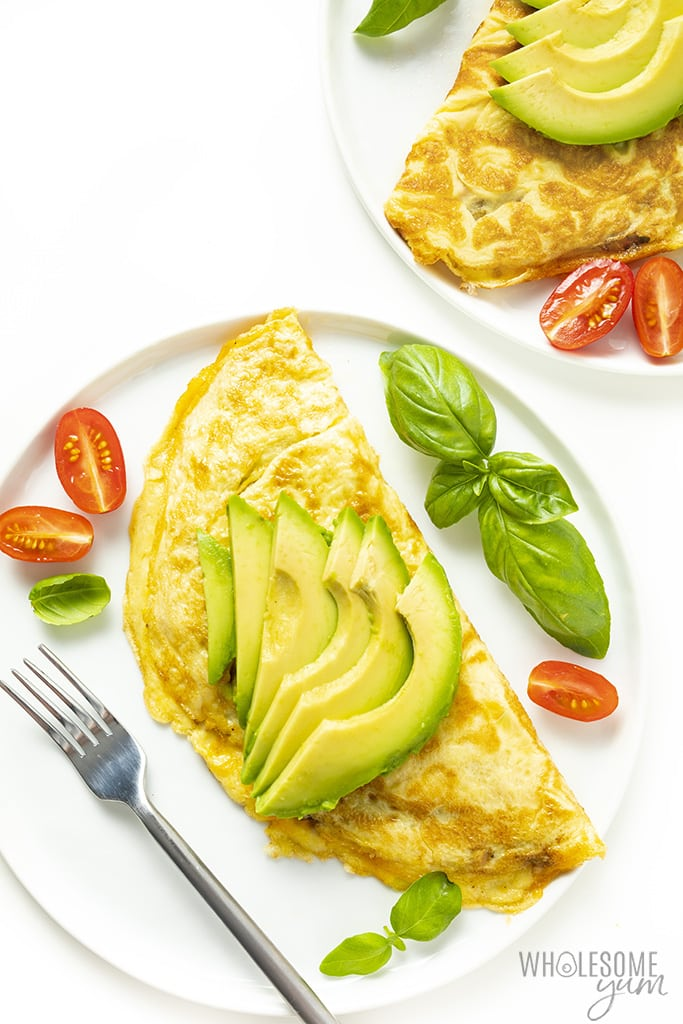 perfect omelette with sliced avocado