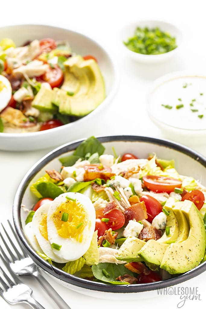 Side view of a healthy cobb salad