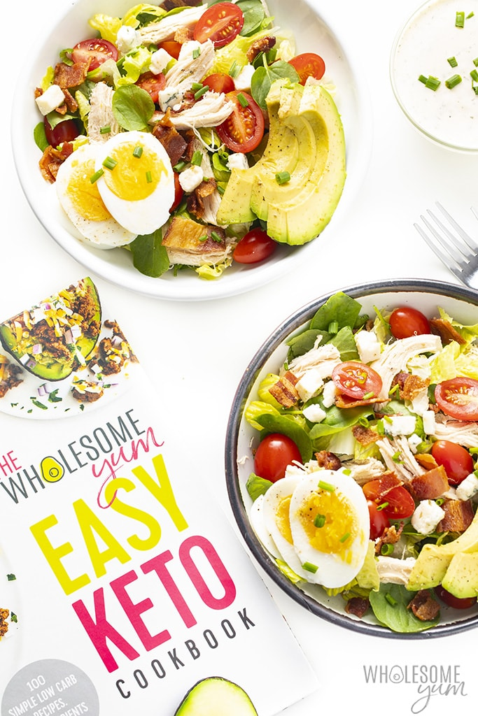 Keto cobb salad in two bowls - from the Easy Keto Cookbook