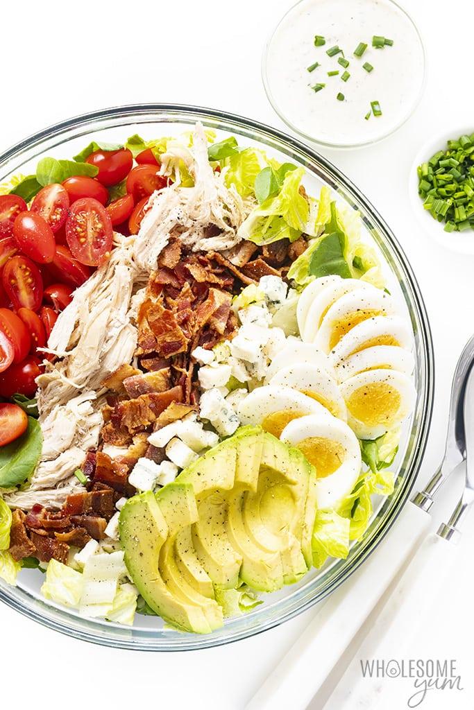 Cobb salad dressing ingredients in a bowl