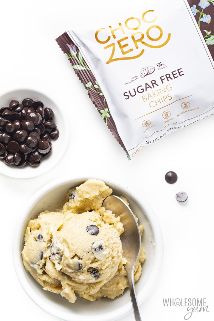 Bowl of sugar-free almond milk ice cream with chocolate chips