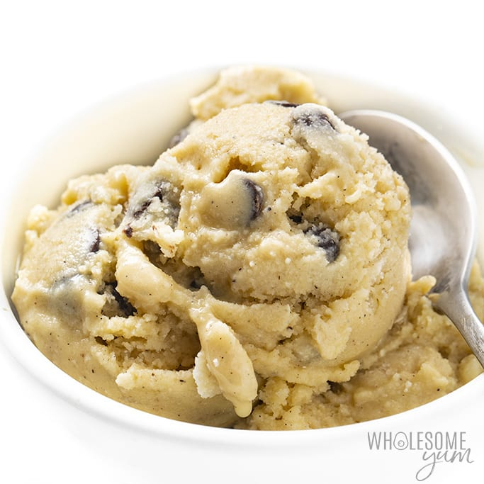 Almond milk cookie dough ice cream in a bowl